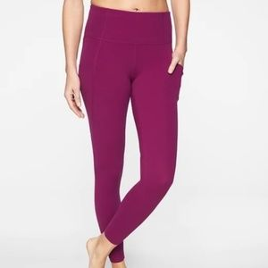 NWOT Athleta Purple Pocket Salutation Leggings